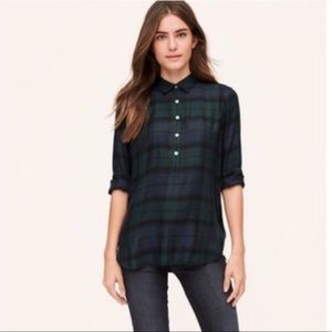 Ann Taylor Loft Softened Plaid Popover